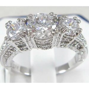NEW Silver and White Sapphire 3-Stone Ring Sz 7